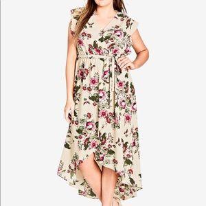 City Chic high low floral wrap dress, size XXL/24